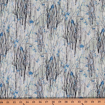Cotton Dream Blossom Bluegrass Silver Cotton Fabric Print by the Yard D461.21 - $12.95