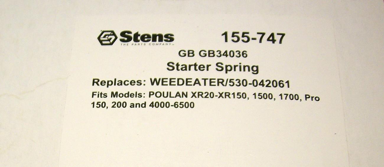 Poulan XR20 to XR150, 1500, 1700, Pro 150, 200 4000 weedeater starter spring