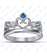14K White Gold Plated 925 Silver Round Cut Blue Topaz Disney Princess Cr... - £39.63 GBP