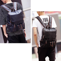 Men's Leather backpack Briefcase Bag Teenager rucksack School Bag travel... - $37.86