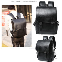 Black Men's Leather Shoulder Backpack Rucksack School messenger Laptop Bag - $33.53