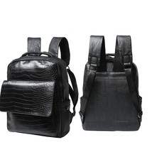 Black Men's Leather Shoulder Backpack Boy's Vintage Bookbag Rucksack Lap... - $33.60