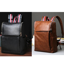 Men's Leather Messenger Bag Backpack Boy's Vintage Bookbag Rucksack Lapt... - $36.99