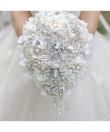 White Hydrangea drop brooch bouquet custom wedding bridal teardrop  bouq... - $285.00
