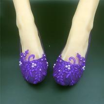 Purple Lace Bridesmaids Shoes,Rhinestone Bridal Shoes,Purple lace wedding flats - $48.00
