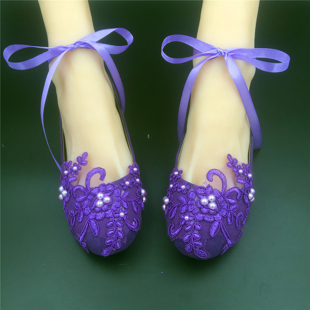 4e8aa3bf7dc Purple Lace Bridal Flats