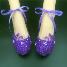 Purple Lace Bridal Flats,Bridal Shoes,Bridesmaids Shoes,Purple Wedding Shoes - $48.00