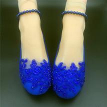 Blue Bridesmaids Shoes,Blue Pearl Ankle Strap Bridal Shoes,wedding flats shoes - $48.00