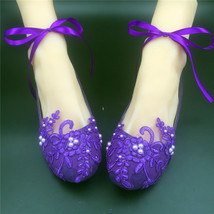 Dark Purple Lace Bridal Flats,Purple Bridesmaids Flat Shoes,Purple Wedding Shoes - $48.00