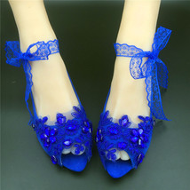 RoyalBlue Peep toe Bridesmaids Shoes,Something Blue,Open Toe Wedding Flats Shoes - $48.00