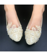 Champagne Lace Bridesmaids Shoes,Rhinestone Bridal Shoes,Ivory wedding f... - $48.00