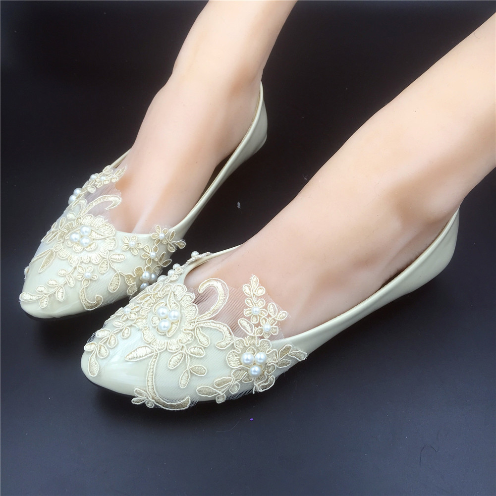 Champagne Wedding Shoes Flat