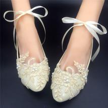 Champagne Lace Bridal Flats,Ivory Bridal Shoes,Bridesmaids Shoes,wedding shoes - $48.00