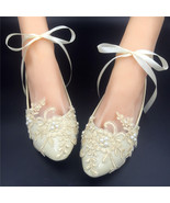 Champagne Lace Bridal Flats,Ivory Bridal Shoes,Bridesmaids Shoes,wedding... - $48.00