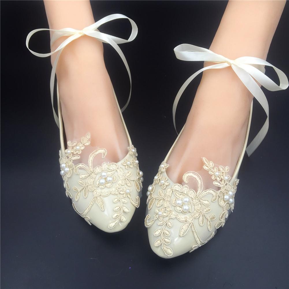 Champagne Lace Bridal Flats,Ivory Bridal Shoes,Bridesmaids