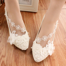 White Lace Bridesmaids Shoes,Rhinestone Bridal Shoes,White lace wedding flats - $48.00