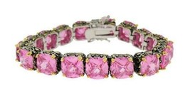 ANTIQUE  2 TONE PINK CUSHION CUBIC ZIRCONIA TENNIS BRACELET 15MM STONES - $89.09