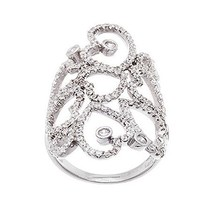 NEW 14K WHITE GOLD VERMEIL Open Lace Heart Style Knuckle CZ Ring-Bridal-925 - $79.99