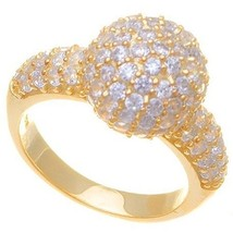 NEW  14K GOLD VERMEIL Micro Pave Ball & Side Ring-Bridal 925 - $45.00