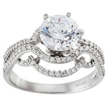 NEW 14K WHITE VERMEIL Swirl Pave+Clear High Set Halo CZ Bridal Ring Band... - $69.99
