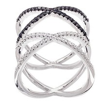 14 K White Gold Vermeil Pave Open Double X Black+Clear  Cz Ring Bridal Band 925 - $59.99
