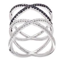 14K WHITE GOLD VERMEIL Pave Open Double X Black+Clear  CZ Ring-Bridal-Ba... - $59.99