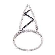 14K WHITE GOLD VERMEIL Pave Open Triangle Black+Clear CZ Knuckle Ring-Ba... - $49.00