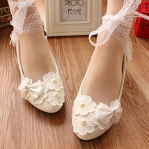 Women Lace Ankle Strappy Bridal Flats Shoes,Bridesmaids Shoes,wedding shoes - £39.12 GBP