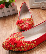 Red Bridesmaids Shoes,Red Bridal Shoes,Full size wedding shoes,wedding flats - $48.00