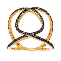 14K YELLOW GOLD VERMEIL Pave Open X All Around Black CZ Knuckle Ring-Ban... - $45.00