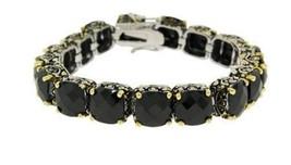 Antique  2 Tone Black  Cushion Cubic Zirconia Tennis Bracelet 15 Mm Stones - $89.09