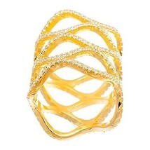 14K YELLOW GOLD VERMEIL All Around Lace Style CZ Knuckle Ring-Bridal-Ban... - $49.99