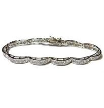 4 Ctw Dome Link  Princess Cut Clear Cubic Zirconia Tennis Bracelet Bridal - $44.55