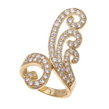 14K YELLOW GOLD VERMEIL Pave Open Swirl Clear CZ Knuckle Ring-Band 925 - $69.00