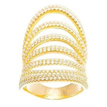 14K YELLOW GOLD VERMEIL-7Row Pave Open Scoop Stack Dome CZ Knuckle Ring-... - $129.00