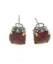 Antique  2 Tone  Red Cushion Cubic Zirconia Omega French Back  Earring 15 Mm - $24.74