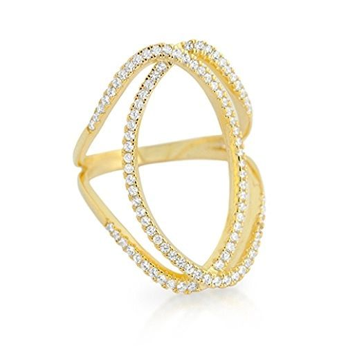 Primary image for 14K YELLOW GOLD VERMEIL Pave Open Oval Shank CZ Knuckle Ring-Band-925-28mm