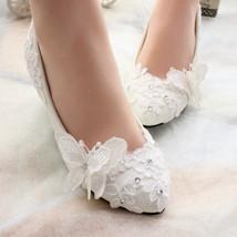 5CM heels Bridal Shoes, Bridesmaid Shoes,Bridal Lace Shoes,White Wedding Shoes - $48.00