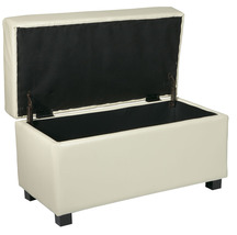 Cream Faux Leather 32 W Storage OTTOMAN Bench w/Safety Hinge Lift Top & ... - $99.99
