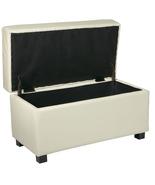 Cream Faux Leather 32 W Storage OTTOMAN Bench w... - $99.99