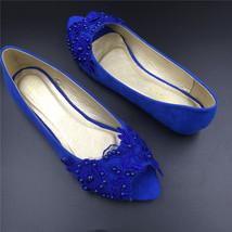 Royalblue Peep toe Bridal Shoes,Blue Open Toe Bridesmaid Shoes,wedding flat shoe - $48.00