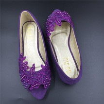 Purple Peep toe Bridal Shoes,Purple Open Toe Bridesmaid Shoes,wedding fl... - £38.61 GBP