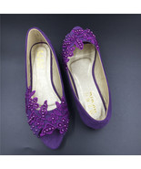 Purple Peep toe Bridal Shoes,Purple Open Toe Bridesmaid Shoes,wedding fl... - $48.00