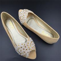 Champagne Open toe Bridal Shoes,Light Glod Peep Toe Wedding Shoes,wedding flats - $48.00