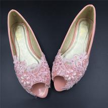 Pink Open toe Bridal Shoes,Light Pink Peep Toe Wedding Shoes,wedding flats - $48.00