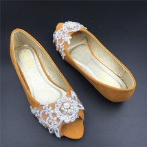 Brown Open toe Bridal Shoes,Glod Peep Toe Bridesmaid Shoes,wedding shoes - £38.61 GBP