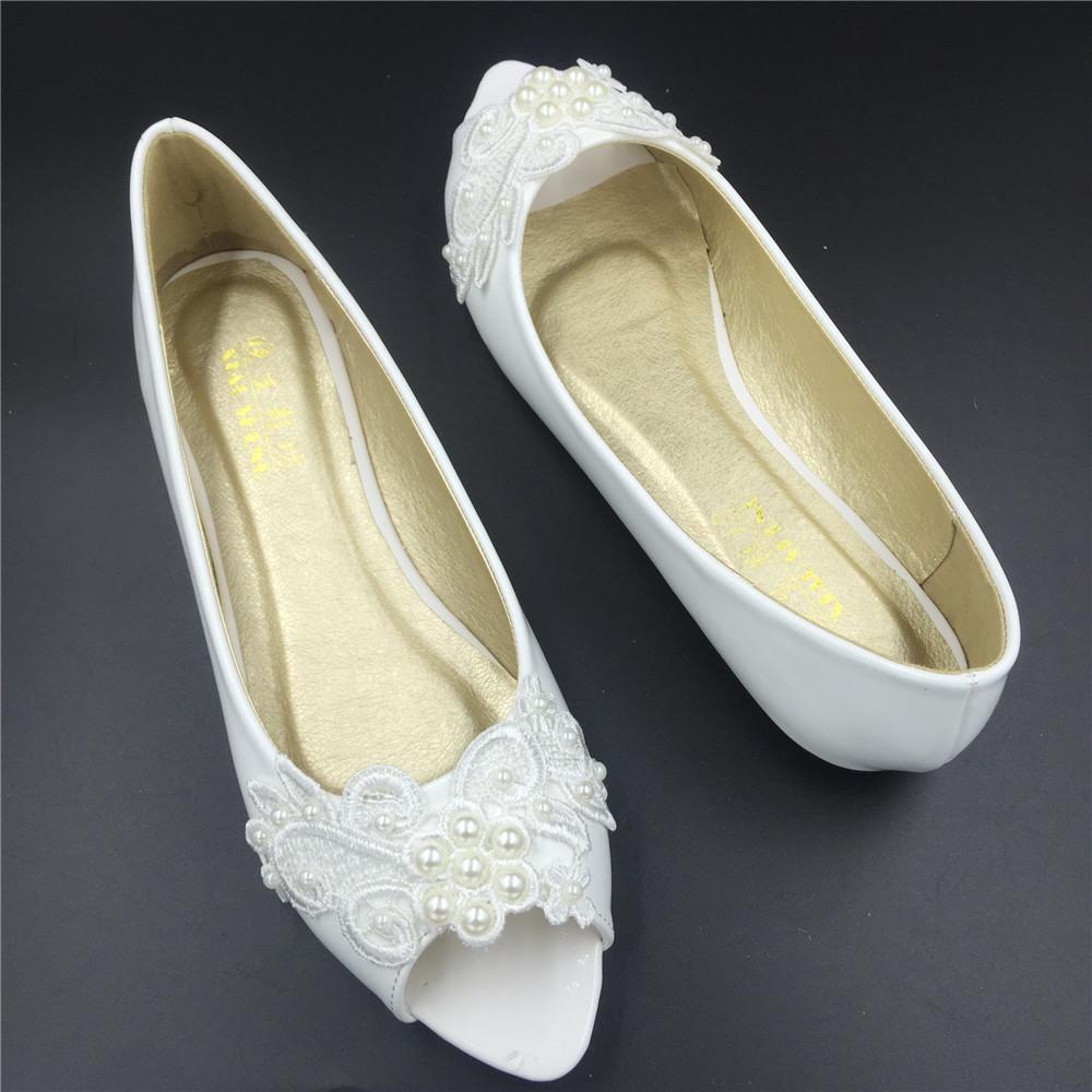White Open Toe Bridal Shoes,Ivory White Peep Toe