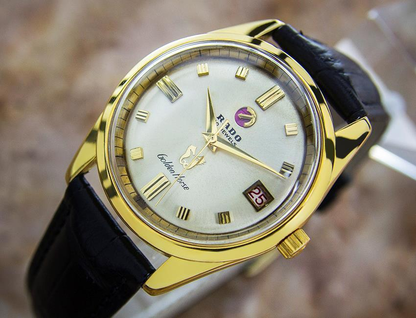 Primary image for Rare Vintage Men's Rado Golden Horse Gold Pated Swiss Automatic Watch EB128
