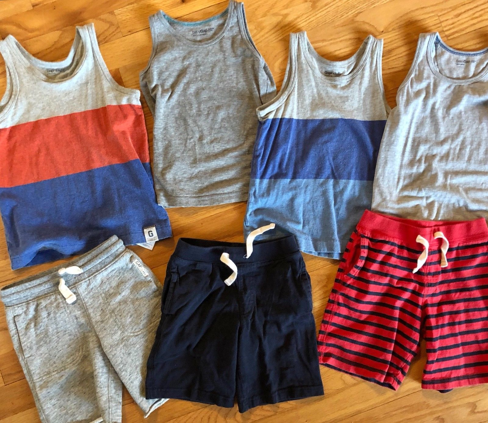 BABY GAP Tank Top + Knit Pull On Shorts Lot of 7 - Summer Outfits Blue Gray Red