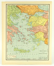 Vintage Biblical Map Isles of Greece and Seven Churches Rand McNally, 1938 - $11.00